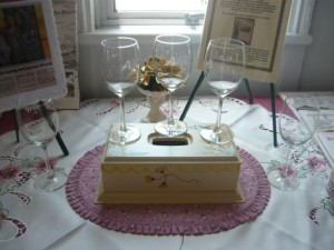 Commemorative glasses on display
